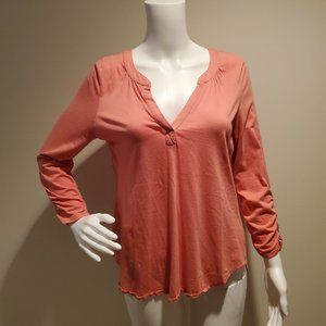 Sundance Coral Orange Long Sleeved V-Neck Top M
